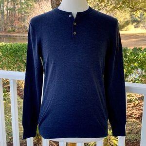 Bonobos Blue Cotton/Linen Slim Fit Henley Shirt